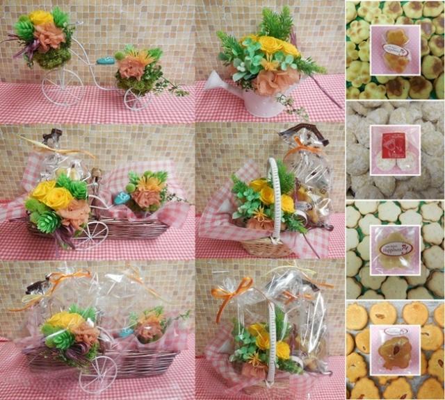 プリザーブドフラワーアレンジと焼き菓子のギフトいかがでしょうか?(*^_^*)